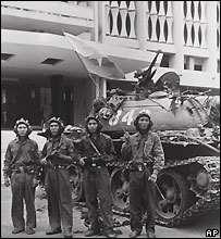 Soldiers outside the Presidential Palace in Saigon, 30 April 1975