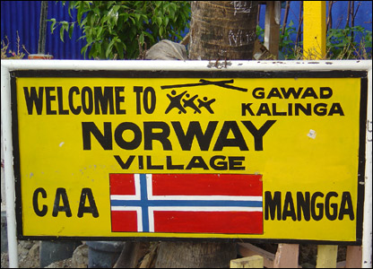 "Marker for a village named ""Norway Village"" after people from Norway raised funds and built the complex."
