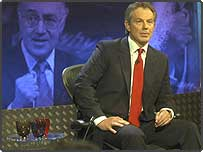 Tony Blair facing questions from the studio audience during BBC's Question Time programme