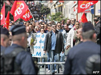 French seamen protesting over job-loss fears