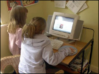 two children use the internet