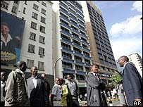 Evacuated office workers in Nairobi, Kenya