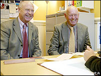 Brian Jones (left) and Anthony Carter register their intent to form a civil partnership