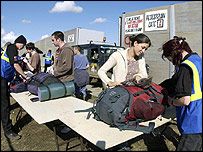 Security bag checks at Glastonbury 2004