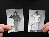 Two black-and-white pictures of soldiers