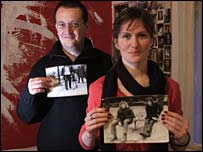 Toni and Tamara in their flat in Zagreb holding some of their photos