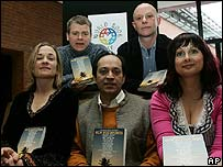 Nick Hornby with Marian Keyes, Vickram Seth, Tracy Chevalier and Mark Haddon