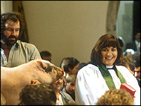 The Vicar of Dibley and a pig inside the church