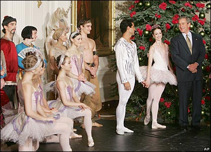 President Bush, right, with members of the American Ballet Theater