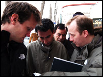 Olly Bootle (left) and Paul Kenyon (right) have a programme meeting in Tehran