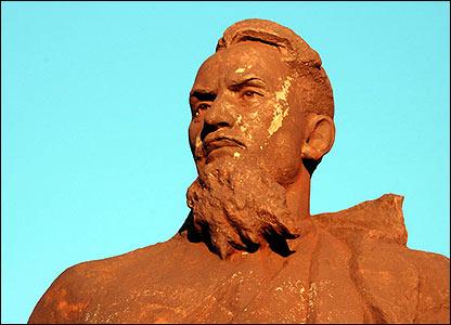 Statue of Soviet nuclear physicist Igor Kurchatov in Kurchatov, Kazakhstan