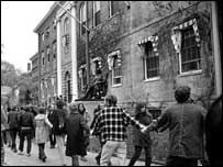 Demonstrators at Harvard, 1970