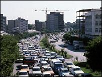 A traffic jam in Tehran