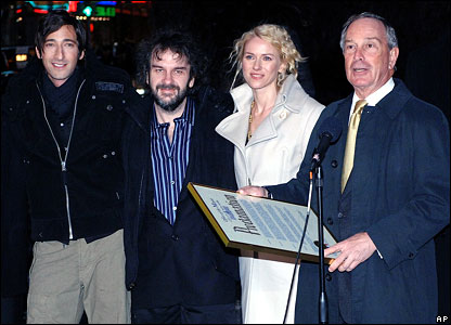 Adrien Brody, Peter Jackson, Naomi Watts and New York City Mayor Michael Bloomberg