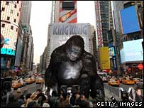 A 20ft King Kong model in Times Square
