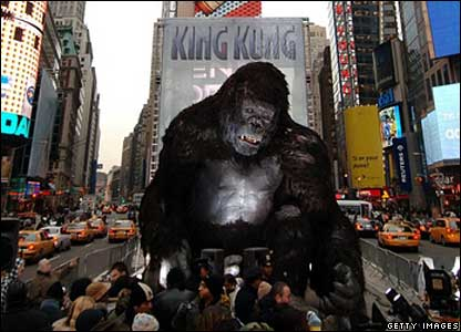A 20ft King Kong model in New York's Times Square