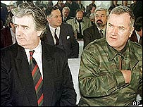 Bosnian Serb wartime leaders Radovan Karadzic (left) and Ratko Mladic