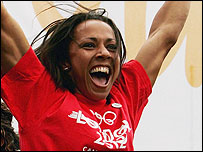 Kelly Holmes celebrates the announcement that London had won the 2012 Olympics