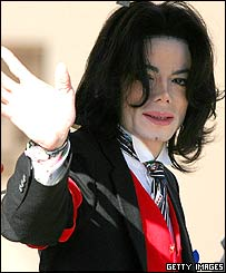 Michael Jackson arriving in court on Friday, 29 April