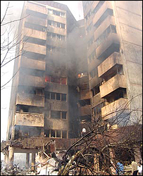 Burning building in Tehran (photo: Ahmed Reza Shojaie, ILNA)