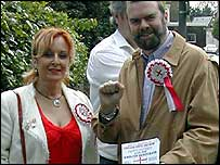 Kim Gandy, English Democrat candidate for Basildon, and Garry Bushell, candidate for Greenwich