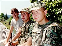 Simon Reeve in Georgia with Russian peacekeepers at the border with South Ossetia