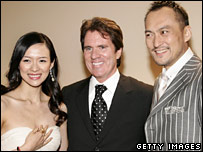 Ziyi Zhang, Rob Marshall and Ken Watanabe (far right)