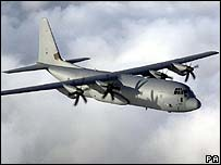 A British RAF C-130 Hercules aircraft