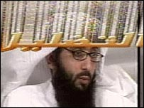 Grab from programme, showing former al-Qaeda militant Walid Khan, with the Arabic word for 'deception' superimposed