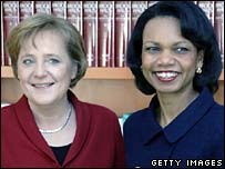 German Chancellor Angela Merkel, left, and US Secretary of State Condoleezza Rice