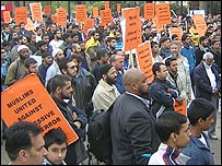 Muslim crowds at Marble Arch