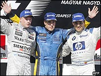Raikkonen (a la izquierda), Alonso y Montoya.