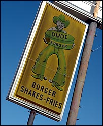 Sign for Dude Burger