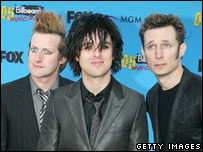 Mike Dirnt, Billie Joe Armstrong and Tre Cool of Green Day