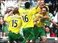 Scott Brown is mobbed by his team-mates