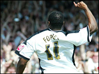 Adrian Forbes celebrates the last ever league goal at the Vetch