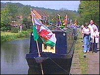 Canal boat on Monmouthshire and Brecon canal
