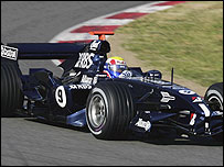 Williams driver Mark Webber tests in Barcelona