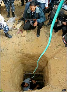 Palestinian policemen search a smuggling tunnel