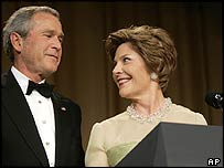 George W Bush and wife Laura