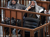 Saddan Hussein's empty chair in court