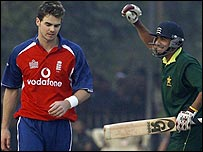 James Anderson trudges off after Bazid Khan scores the winning runs off him