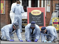 Forensic officers at scene of Azelle Rodney shooting