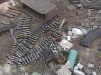The contents of a raid carried out at the house, south of Baghdad, Iraq