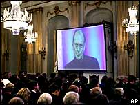 Harold Pinter's vide message being played at the at the Swedish Royal Academy in Stockholm.