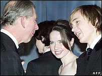Prince Charles with Anna Popplewell and William Moseley