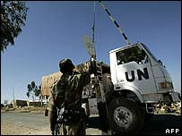 UN lorry crosses border from Ethiopia into Eritrea. File photo