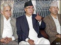 Former deputy premier Bharat Mohan Adhikari (L), former prime minister Sher Bahadur Deuba (C) and  Madhav Kumar Nepal (R)