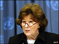 Louise Arbour speaks to journalists at the UN