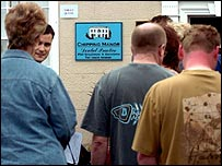 People queuing at dentist.